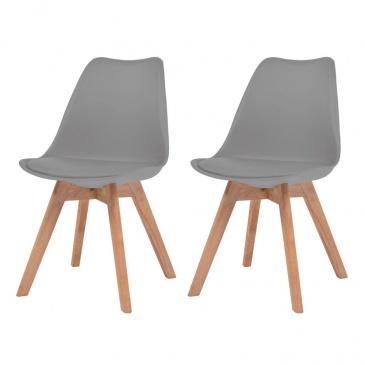 Krzesła do jadalni, 2 szt., sztuczna skóra, lite drewno, szare