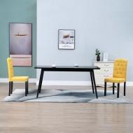 Krzesła do jadalni, 2 szt., żółte, tapicerowane tkaniną