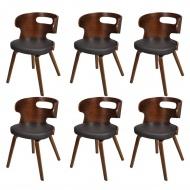 Krzesła do jadalni, 6 szt., drewno i sztuczna skóra, brązowe