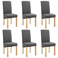 Krzesła jadalniane 6 szt. szare tkanina