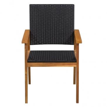 Krzesła ogrodowe, 2 szt., polirattan, czarno-brązowe