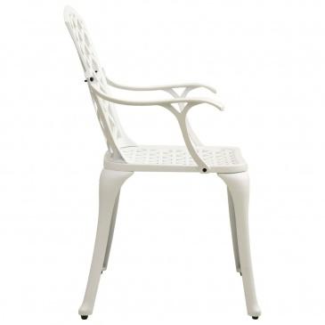 Krzesła ogrodowe 4 szt., odlewane aluminium, białe