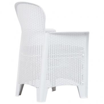 Krzesła Ogrodowe Z Poduszkami 2 Szt Białe Plastikowe