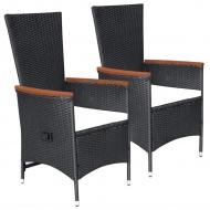 Krzesła ogrodowe z poduszkami, 2 szt., polirattan, czarne