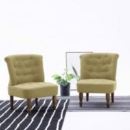 Krzesła w stylu francuskim, 2 szt., zielone, materiałowe