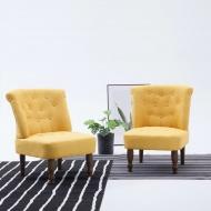 Krzesła w stylu francuskim, 2 szt., żółte, materiałowe