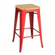 Krzesło barowe King Home Tower Wood jesion/czerwone