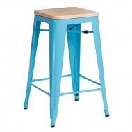 Krzesło barowe Paris Wood D2 65cm sosna naturalna-niebieskie