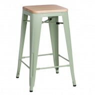 Krzesło barowe Paris Wood D2 65cm sosna naturalna-zielone