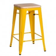 Krzesło barowe Paris Wood D2 65cm sosna naturalna-żółte