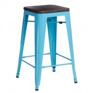 Krzesło barowe Paris Wood D2 65cm sosna orzech-niebieskie