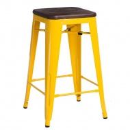 Krzesło barowe Paris Wood D2 65cm sosna szczotkowana-żółte