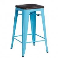 Krzesło barowe Paris Wood D2 75cm sosna szczotkowana-niebieskie