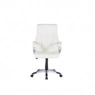 Krzesło biurowe beżowe - obrotowe - skóra ekologiczna - TRIUMPH