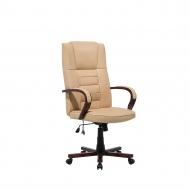 Krzesło biurowe beżowe skóra ekologiczna funkcja masażu Ontano