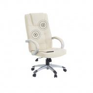 Krzesło biurowe beżowe skóra ekologiczna funkcja masażu DIAMNOND II