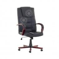 Krzesło biurowe czarne skóra ekologiczna funkcja masażu Ontano