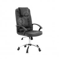 Krzesło biurowe czarne skóra ekologiczna funkcja masażu Bianchi