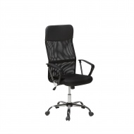 Krzesło biurowe czarne skórzane regulowana wysokość Pioppo
