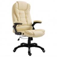 Krzesło biurowe, kremowe, sztuczna skóra