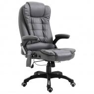 Krzesło biurowe z masażem, antracytowe, sztuczna skóra