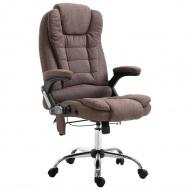 Krzesło biurowe z masażem, brązowe, poliester