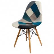 Krzesło D2 P016W tap. niebiesko szary