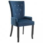 Krzesło do jadalni z podłokietnikami granatowe aksamitne