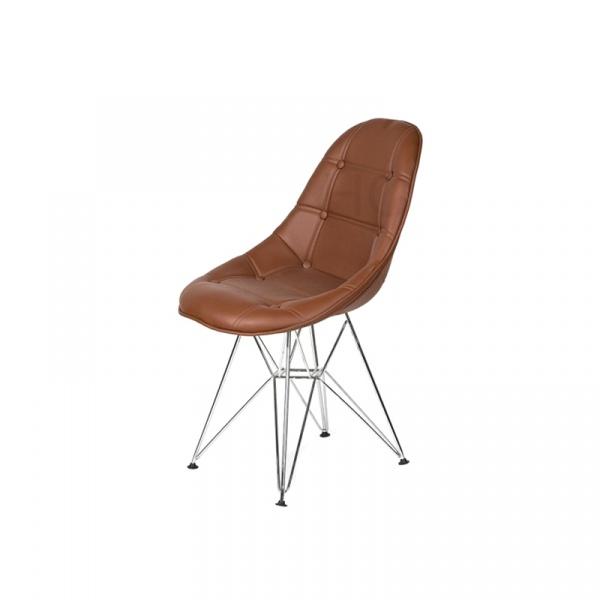 Krzesło King Bath Eames EPC DSR ekoskóra brąz mleczna czekolada LI-KK-132PU.M.BRAZOWY