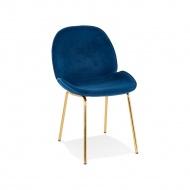 Krzesło Kokoon Design Agath ciemnoniebieskie nogi złote