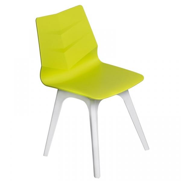 Krzesło Leaf limonkowe, podst. biała 5902385701679