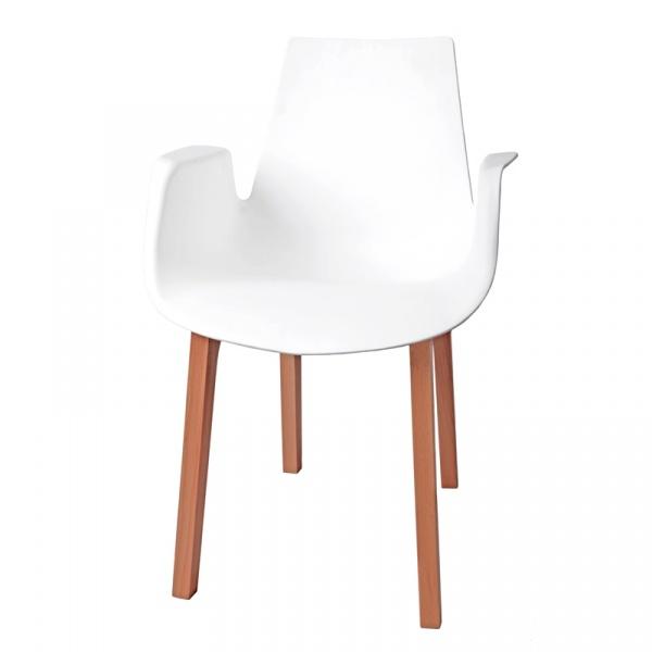 Krzesło Mokka białe, drewniane nogi 5902385700382