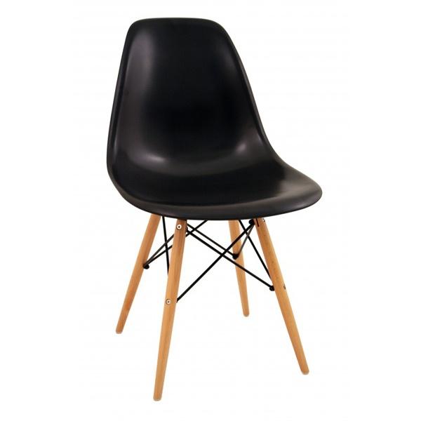 Krzesło P016W PP czarne, drewniane nogi 5902385716550