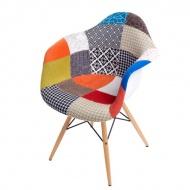 Krzesło P018 patch work, drewniane nogi
