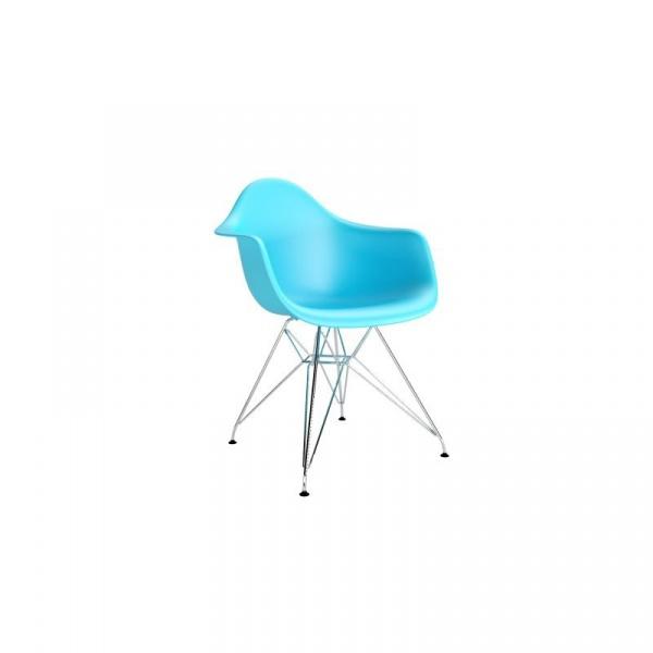 Krzesło P018 PP ocean blue, chrom nogi DK-48992