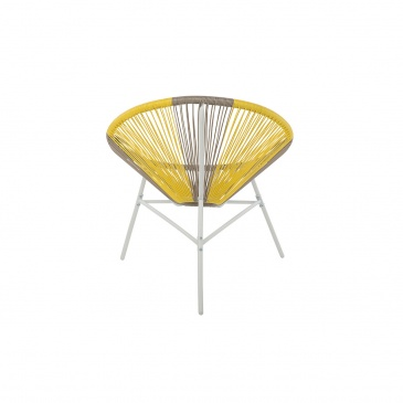 Krzesło rattanowe beżowo-żółte ACAPULCO