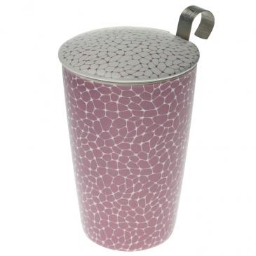 Kubek 350 ml z zaparzaczką do herbaty Eigenart Ziarna biało-liljowy EA-3555312
