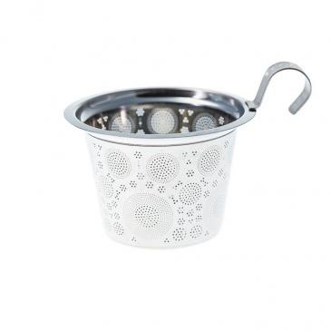 Kubek 350 ml z zaparzaczką do herbaty Eigenart Ziarna liljowo-biały EA-3556022