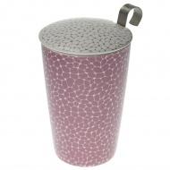 Kubek 350ml z zaparzaczką do herbaty Eigenart Ziarna biało-liliowy