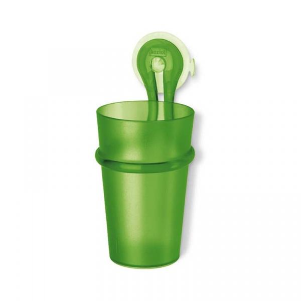 Kubek łazienkowy na szczoteczki z przyssawką Koziol Loop zielony KZ-5822543