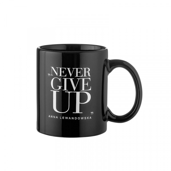 "Kubek ""Never Give Up"" 300 ml Healthy Plan By Ann czarny - Anna Lewandowska KC002"