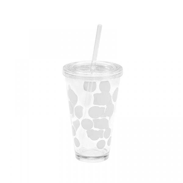 Kubek + słomka 570 ml Zak! Designs Chiller białe kropki 1358-5720