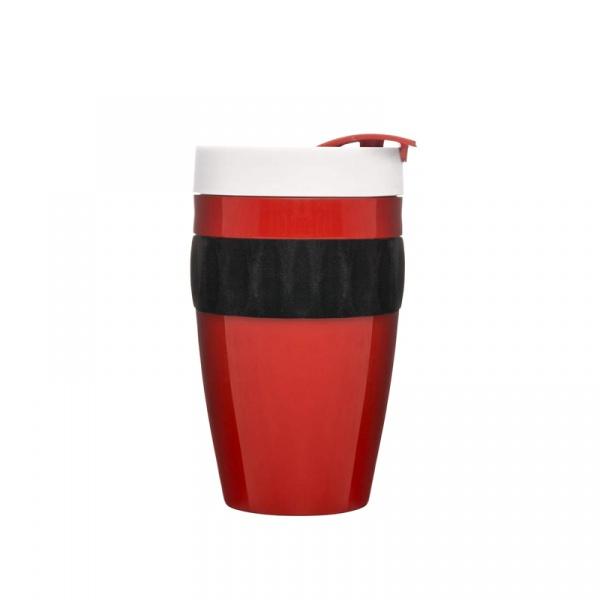 Kubek termiczny plastikowy 0,4 l Sagaform Cafe czerwono-czarno-biały SF-5017315