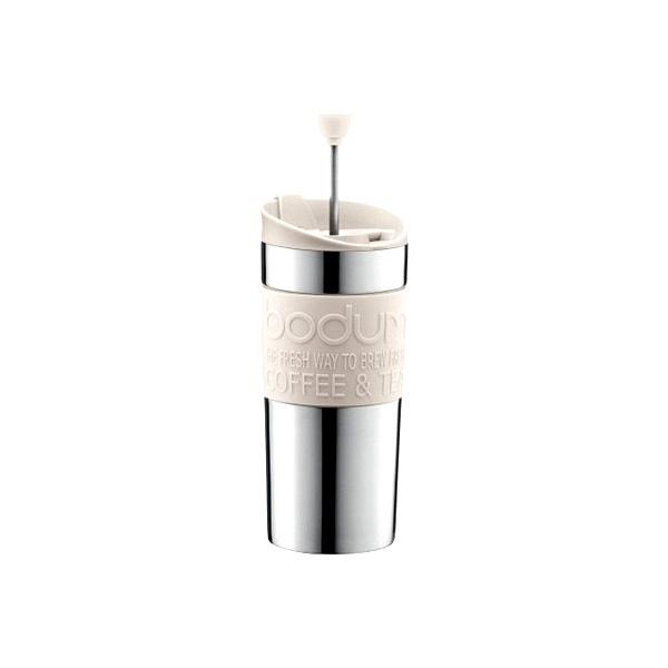 Kubek termiczny z praską 0,35 l Bodum Travel Press stalowy biały BD-11067-913