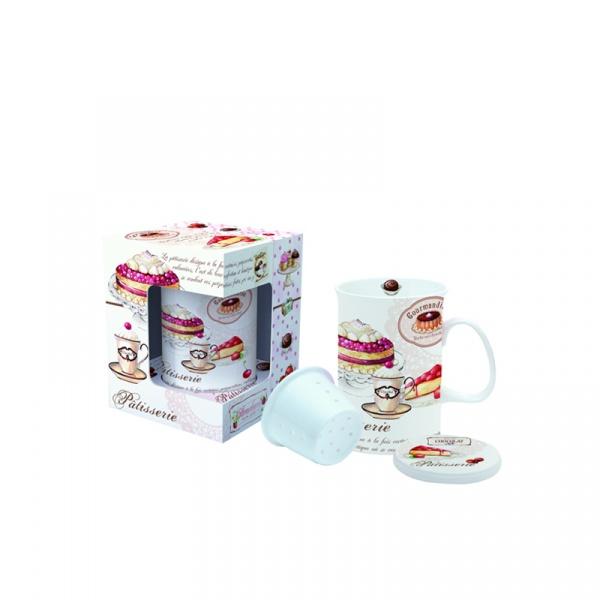 Kubek z zaparzaczem i pokrywką Nuova R2S Romantic ciasta 316 PATI