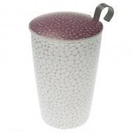 Kubek z zaparzaczką do herbaty 350ml Eigenart Ziarna liliowo-biały