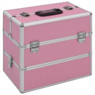 Kuferek na kosmetyki, 37 x 24 x 35 cm, różowy, aluminiowy