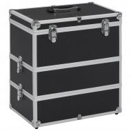 Kuferek na kosmetyki, 37 x 24 x 40 cm, czarny, aluminiowy