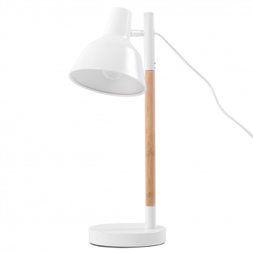 Lampa biurkowa nocna drewno regulowana biała ALDAN