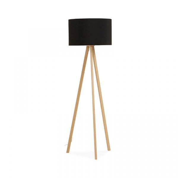 Lampa podłogowa Trivet Kokoon Design czarny drewniane nogi FL00320BLNA